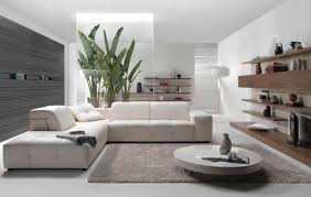 contemporary living room design with white interior and glass