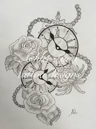 Feminine Clock - black and white clocks with roses chrysanthemums and the