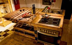 kitchen island made of old wooden pallets kitchen crafters