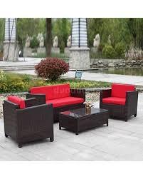Bargain Patio Furniture Sets Bargains On Ikayaa 4pcs Outdoor Patio Furniture Set Wicker Garden