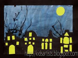 kids artists halloween houses for art class pinterest