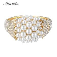 bracelet color crystal images Minmin wide gold color crystal bangle synthetic pearl bracelet jpg