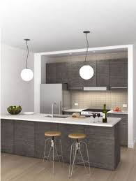 Grey Kitchen Ideas by Interesting Grey Kitchen Design With Hanging Lamps 7600