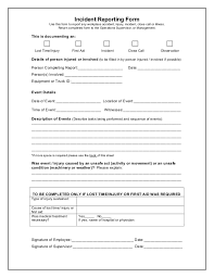 sample incident reports