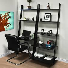 Leaning Ladder Bookcases furniture cozy black leaning bookcase with desk and cozy black