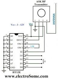 wireless transmitter and receiver using ask rf module