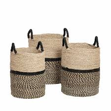 trio seagrass twotone baskets great for categorising your laundry