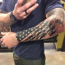 american flag tattoo on full sleeve