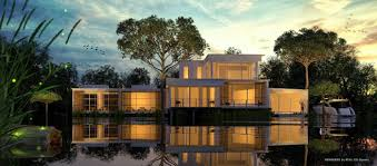 modern home on lake exterior rendered by boyd meeji in keyshot
