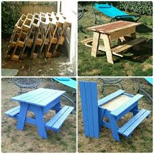 Make Your Own Picnic Table Bench by Diy Pallet Sandbox Picnic Table Projects To Try Pinterest