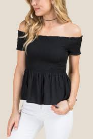 the shoulder black blouse drew smocked the shoulder blouse s