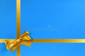 blue and gold ribbon christmas gift background border gold ribbon and bow copy space