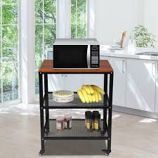 kitchen appliance storage cabinet 3 layer rolling kitchen bakers rack shelf microwave oven stand storage cart