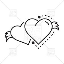 Hearts With Wings - icon of hearts with wings outline sign royalty free vector