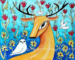 Items Similar To Art Print - deer art print animal art whimsical art storybook by maryannfarley