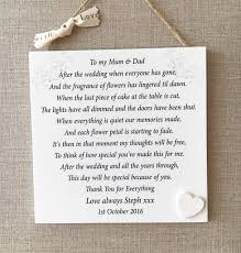 wedding gift to parents parents thank you wedding gift personalised plaque