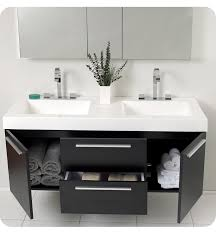 Opulento Black Double Sink Bathroom Vanity With Medicine - Black bathroom vanity and sink