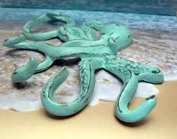 octopus cast iron tentacle wall hook blue shabby chic cottage chic
