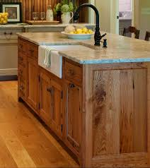 substantial wood kitchen island with apron sink single handle