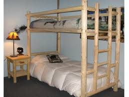 wooden homemade bunk beds with wooden upright stair and double