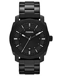 mens stainless steel bracelet watches images Fossil men 39 s machine black tone stainless steel bracelet watch tif