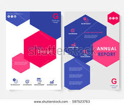 keynote brochure template color hexagon annual report cover design stock vector 597523763