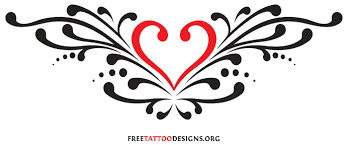 tribal heart tattoo design for lower back