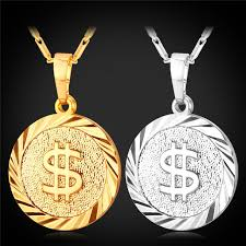 round plate necklace images Wholesale new round dollar pattern pendant necklace 18k gold jpg