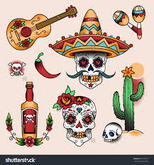 stock vector mexican symbols set of color tattoos in traditional