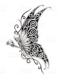 Halloween Skull Drawings Skull Art Butterfly Tattoo Stock Vector Art 474302148 Istock