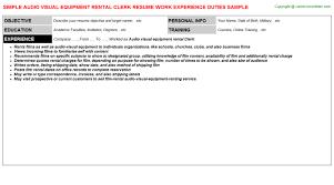 Audio Visual Technician Resume Sample Equipment Rental Coordinator Resumes Samples