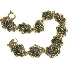 rose link bracelet images Vintage gold tone avon heirloom rose link bracelet fay wray jpg