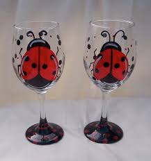 wine glass painting painting on glass painted mailboxes ladybug and glass