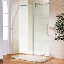 Frosted Interior Doors Home Depot by Vigo Elan 64 In X 74 In Frameless Sliding Shower Door In