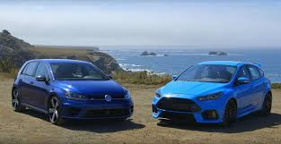 peugeot fire focus rs vs golf r head 2 head huge jumps brakes on fire and