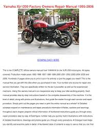 yamaha xjr1200 factory owners repair manual 1 by tashia simar issuu