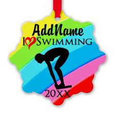 swimmer personalized ornament swimming
