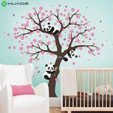 sticker pour chambre mignon panda et cherry blossom arbre sticker pour pépinière grand
