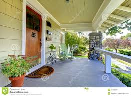 covered front porch craftsman style home stock photo image