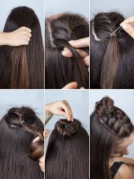 double dutch braid buns half up hairstyle dutch braid bun