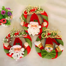 cute christmas door hanging wreath decoration santa and snowman