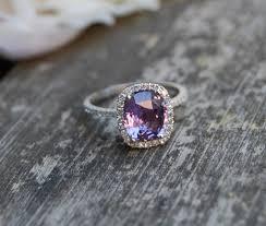 chagne diamond engagement ring 2 6ct cushion plum color change sapphire 14k white gold diamond