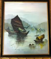 chinese junk boat original oil painting by p wong signed on canvas framed