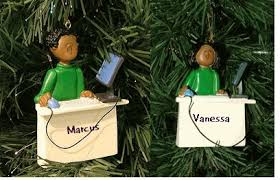 personalize these computer workspace ornaments or brown hair