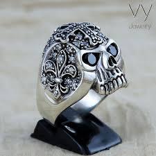 mens rings skull images Cross skull silver ring vy jewelry jpg