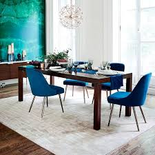 blue dining room furniture mid century velvet dining chair west elm