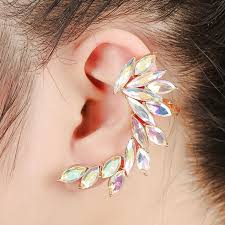 earring cuffs ful rhinestone ear cuff clip on earrings one exaggerated