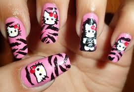 cute hello kitty in pink zebra nails youtube