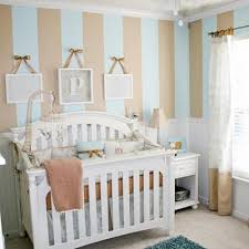 Nursery Room Decoration Ideas Baby Nursery Decor Stripe Brown Blue Wall Baby Boy Nursery Ideas