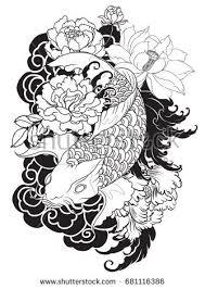 hand drawn outline koi fish tattoo stock vector 578204812
